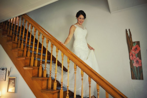 bride on stairs megs country celebrations